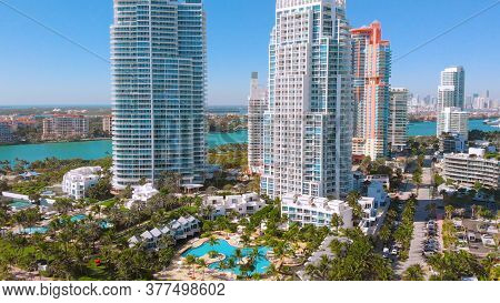 Close Up Drone View Of Miami Beach, Hotels And Skyscrapers Near South Pointe Beach And Coastline, Fl