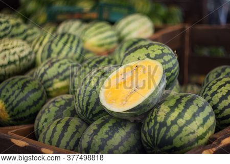 Watermelons Are Sold At The Farmers ' Market. Fresh Watermelons Close-up. Selective And Soft Focus.