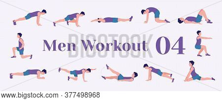 Workout Men Set. Men Doing Fitness And Yoga Exercises. Lunges, Pushups, Squats, Dumbbell Rows, Burpe
