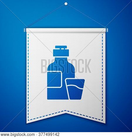 Blue Bottle Of Medicine Syrup And Dose Measuring Cup Solid Icon Isolated On Blue Background. White P