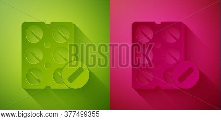 Paper Cut Pills In Blister Pack Icon Isolated On Green And Pink Background. Medical Drug Package For