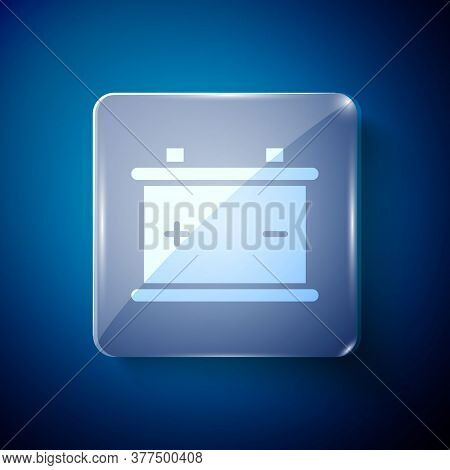 White Car Battery Icon Isolated On Blue Background. Accumulator Battery Energy Power And Electricity
