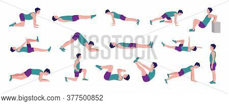 Workout Men Set. Male Doing Fitness And Yoga Exerciseslunges, Pushups, Squats, Dumbbell Rows, Burpee