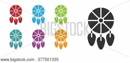Black Dream Catcher With Feathers Icon Isolated On White Background. Set Icons Colorful. Vector Illu
