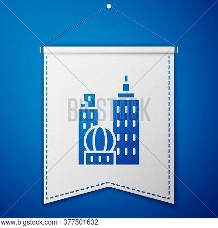 Blue City Landscape Icon Isolated On Blue Background. Metropolis Architecture Panoramic Landscape. W