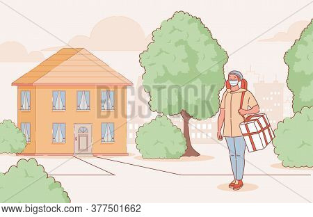 Young Woman In Medical Mask Delivers Goods Or Food To Country House Vector Cartoon Outline Illustrat