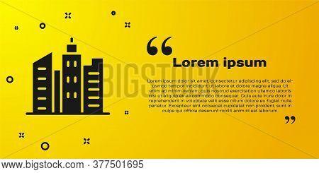 Black City Landscape Icon Isolated On Yellow Background. Metropolis Architecture Panoramic Landscape