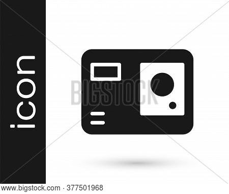Grey Action Extreme Camera Icon Isolated On White Background. Video Camera Equipment For Filming Ext