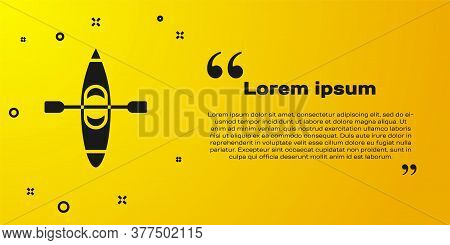 Black Kayak And Paddle Icon Isolated On Yellow Background. Kayak And Canoe For Fishing And Tourism.
