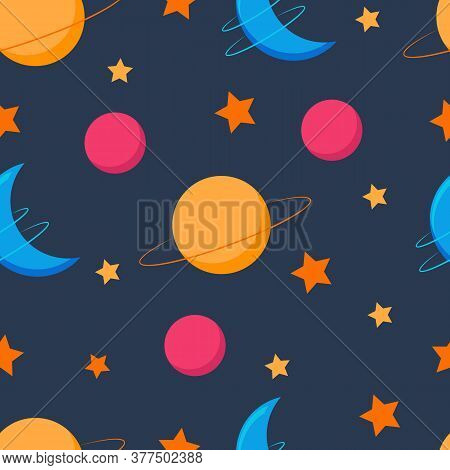 Planet Seamless Pattern. Space. Cosmos. Planets Illustration.