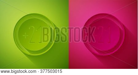 Paper Cut Alcohol 21 Plus Icon Isolated On Green And Pink Background. Prohibiting Alcohol Beverages.