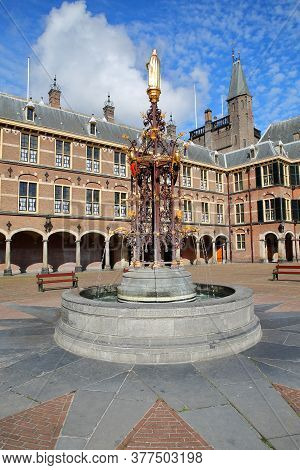 The Neo-gothic Fountain In The Ridderzaal (knight's Hall), Which Forms The Center Of The Binnenhof (