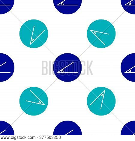 Blue Acute Angle Of 45 Degrees Icon Isolated Seamless Pattern On White Background. Vector Illustrati