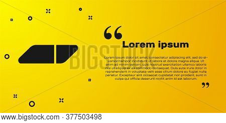 Black Eraser Or Rubber Icon Isolated On Yellow Background. Vector Illustration