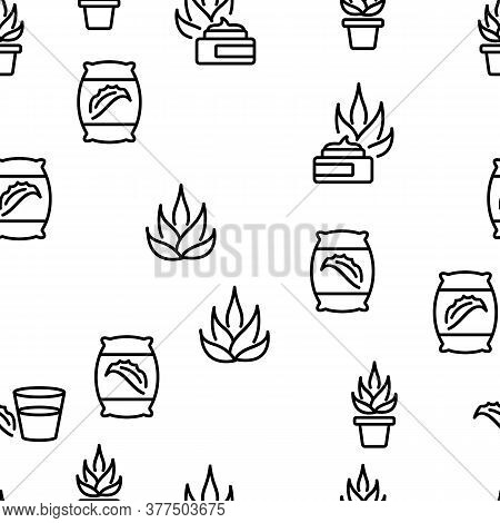 Agave Aloe Vera Plant Vector Seamless Pattern Thin Line Illustration