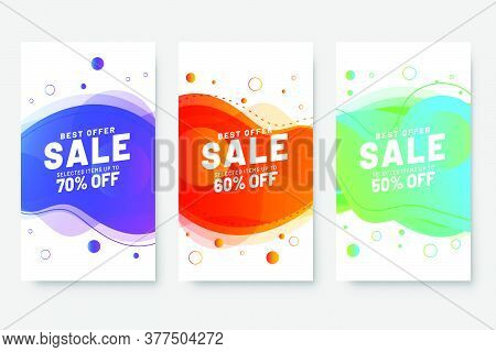 Set Of Three Sale Banner Template Design With Fluid Shape And Sale Word. Social Media Banner Templat