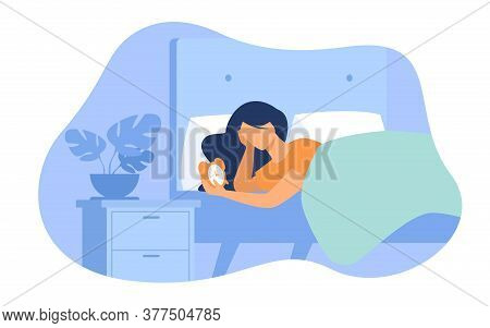 Sleepless Woman Lying In Bed And Looking At Alarm Clock Isolated Flat Vector Illustration. Cartoon F