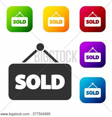 Black Hanging Sign With Text Sold Icon Isolated On White Background. Sold Sticker. Sold Signboard. S