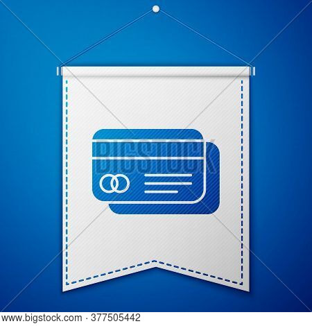 Blue Credit Card Icon Isolated On Blue Background. Online Payment. Cash Withdrawal. Financial Operat