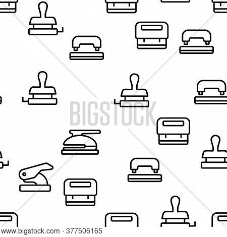 Hole Puncher Tool Vector Seamless Pattern Thin Line Illustration