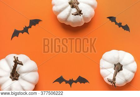 Happy Hallooween Backgroung. Flat Lay Composition On Orange Paper. White Pumpkins And Bats.