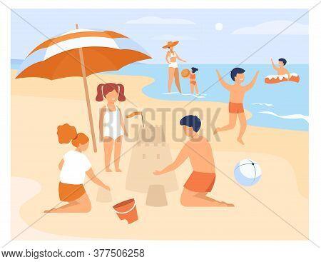 Happy Children Playing On Sea Shore Sand Beach Isolated Flat Vector Illustration. Cartoon Kids Sunba