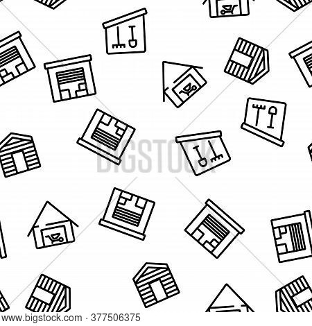 Shed Construction Vector Seamless Pattern Thin Line Illustration