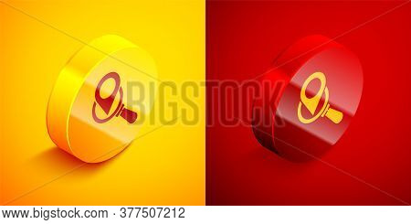 Isometric Search Location Icon Isolated On Orange And Red Background. Magnifying Glass With Pointer