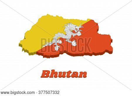 3d Map Outline And Flag Of Bhutan, Triangle Yellow And Orange, With A White Dragon Holding Four Jewe