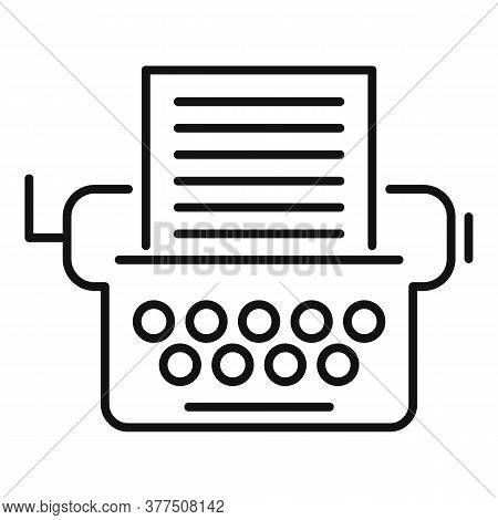 Storyteller Typewriter Icon. Outline Storyteller Typewriter Vector Icon For Web Design Isolated On W