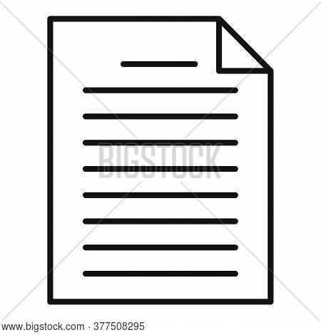 Paper Idea Article Icon. Outline Paper Idea Article Vector Icon For Web Design Isolated On White Bac
