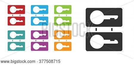 Black Metal Mold Plates For Casting Keys Icon Isolated On White Background. Set For Mass Production