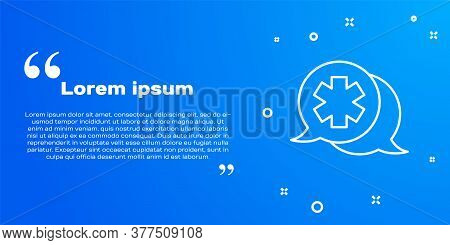 White Line Dialogue With The Doctor Icon Isolated On Blue Background. Doctor And Patient Dialog. Con