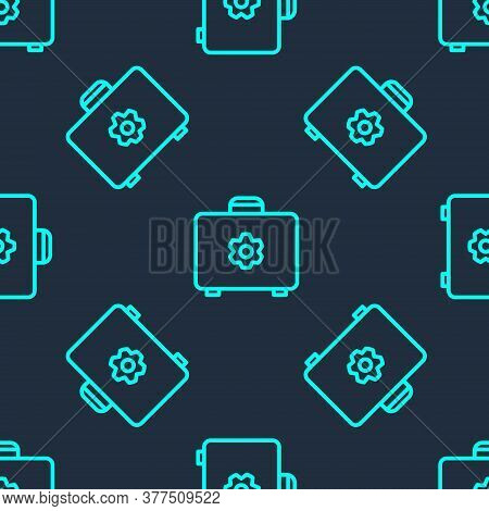 Green Line Toolbox Icon Isolated Seamless Pattern On Blue Background. Tool Box Sign. Vector Illustra