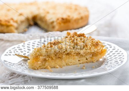 Piece of homemade delicious apple pie on white plate