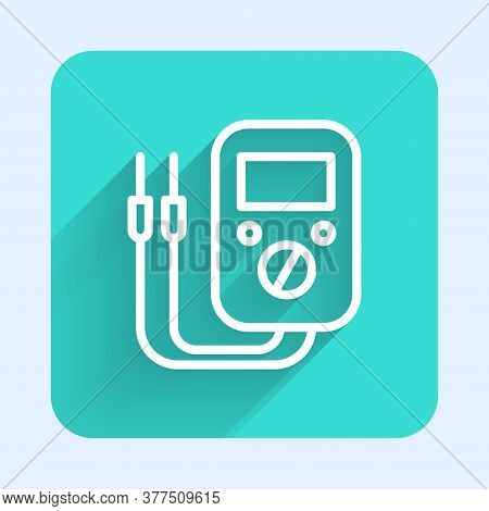 White Line Ampere Meter, Multimeter, Voltmeter Icon Isolated With Long Shadow. Instruments For Measu