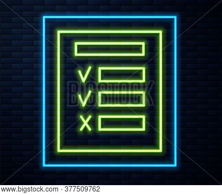Glowing Neon Line Car Inspection Icon Isolated On Brick Wall Background. Car Service. Vector Illustr