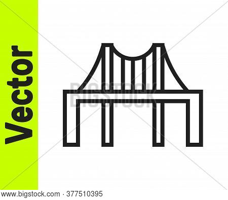 Black Line Golden Gate Bridge Icon Isolated On White Background. San Francisco California United Sta
