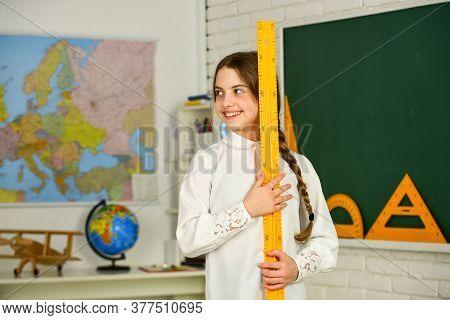 Student Learning Geometry. Stem Concept. Draw Geometric Figures. Kid School Uniform. Extend Learning