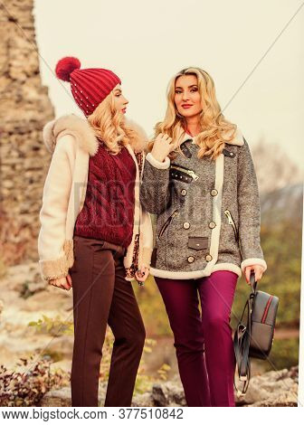 Women In Tweed Jacket And Half-length Coat. Warm Clothes In Fall. Sexy Women Nature Background. Knit