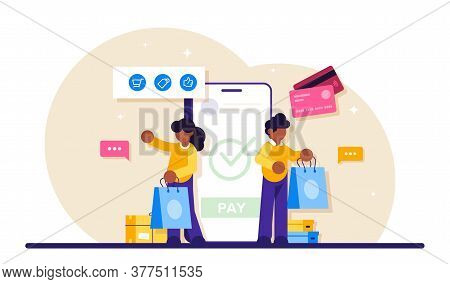 Concept Of Online Commerce. E-business Or E-commerce Technology. Mobile App For Payment With Credit