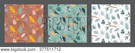 Set Of Three Cute Vector Seamless Pattern With Leopard Animals Exotic Birds, Parrot, Toucan And Trop