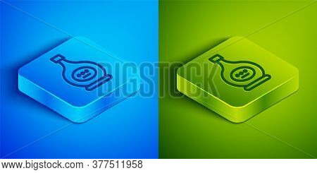 Isometric Line Bottle Of Cognac Or Brandy Icon Isolated On Blue And Green Background. Square Button.