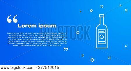 White Line Glass Bottle Of Vodka Icon Isolated On Blue Background. Vector Illustration