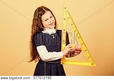 Stem School Disciplines. Pupil Girl With Big Ruler. Small Girl Back To School. School Student Learni