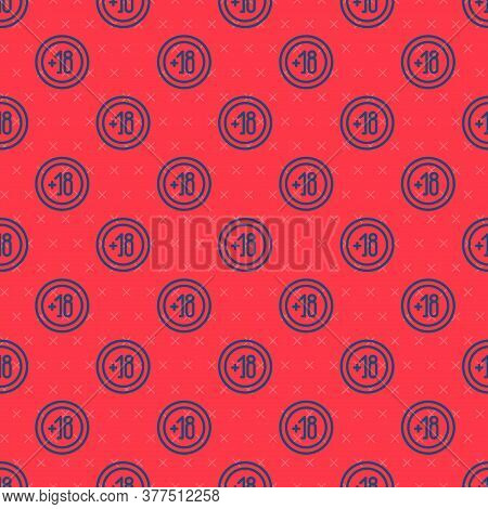 Blue Line Alcohol 18 Plus Icon Isolated Seamless Pattern On Red Background. Prohibiting Alcohol Beve