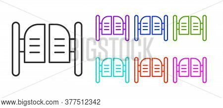 Black Line Old Western Swinging Saloon Door Icon Isolated On White Background. Set Icons Colorful. V