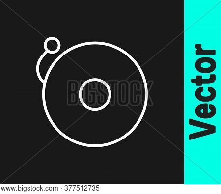 White Line Ringing Alarm Bell Icon Isolated On Black Background. Alarm Symbol, Service Bell, Handbel