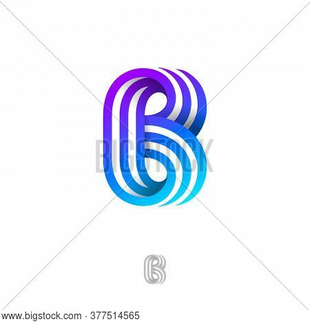 B Letter Consist Of Three Strips. B Monogram From Ribbons Or Paper Strips, Isolated On A White Backg