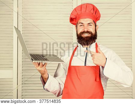 Culinary School. Hipster In Hat And Apron Buy Products Online. Shopping Online. Delivery Service. Ma